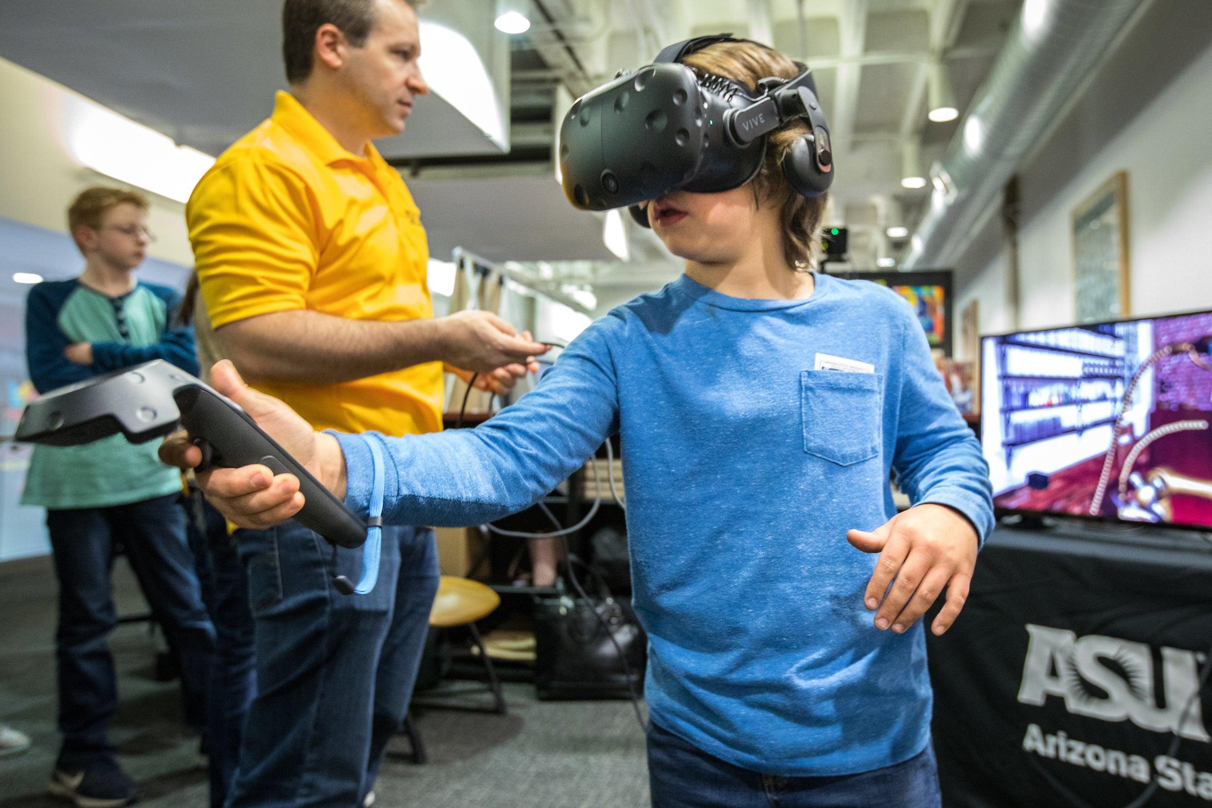 child using virtual reality set