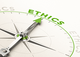 compass pointing to the word 'ethics'