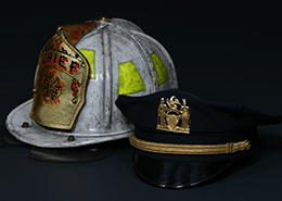 Fire chief helmet and police chief hat