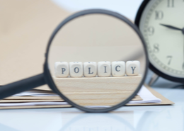 Policy shown in magnifier glass