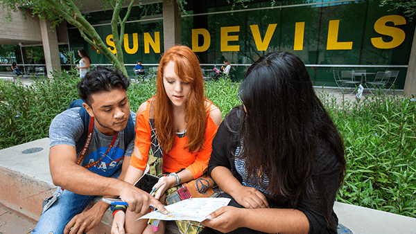 students working together on campus